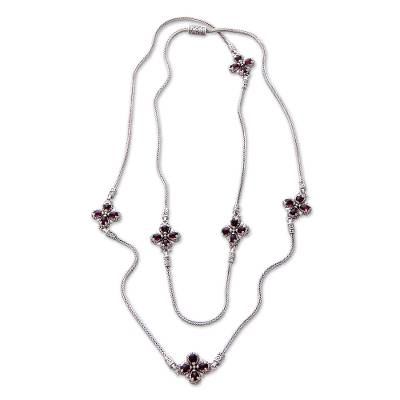 Floral Sterling Silver and Garnet Necklace