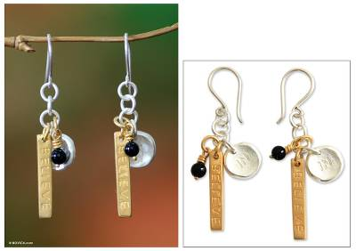 Black agate dangle earrings, 'Believe In' - Black agate dangle earrings