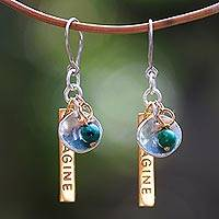 Chrysocolla dangle earrings, 'Imagine If' - Chrysocolla Gold Plated Dangle Earrings
