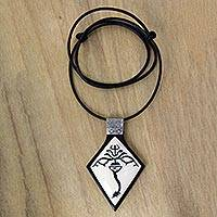 Ebony wood and bone pendant necklace, 'Stingray Protection' - Ebony Wood and Bone Pendant Necklace from Bali