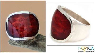 Sterling silver cocktail ring, 'Morocco Red' - Modern Sterling Silver Ring with a Red Resin Crown