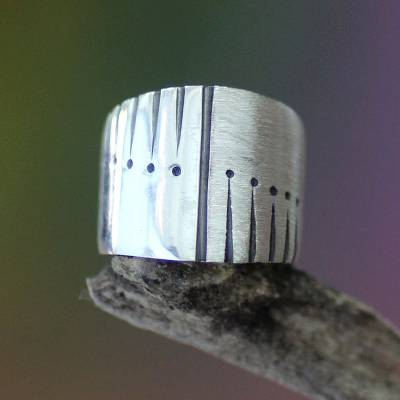 Men's sterling silver ring, 'Natural Harmony' - Men's Sterling Silver Band Ring