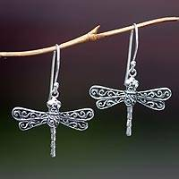 Sterling silver dangle earrings, 'Lucky Dragonflies' - Artisan Crafted Sterling Silver Dangle Earrings