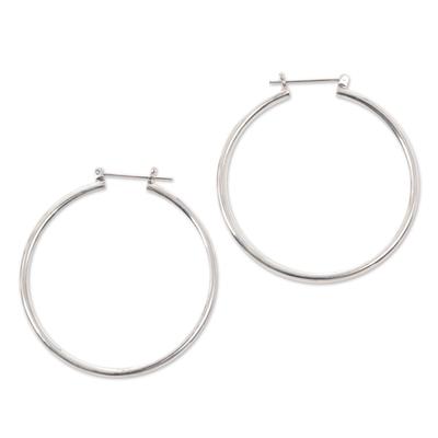 Unique Sterling Silver Hoop Earrings (Large)