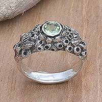 Peridot band ring, 'Coral Treasure' - Handmade Sterling Silver and Peridot Ring