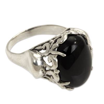Handcrafted Sterling Silver and Onyx Ring