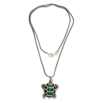 Sterling Silver and Reconstituted Turquoise Necklace