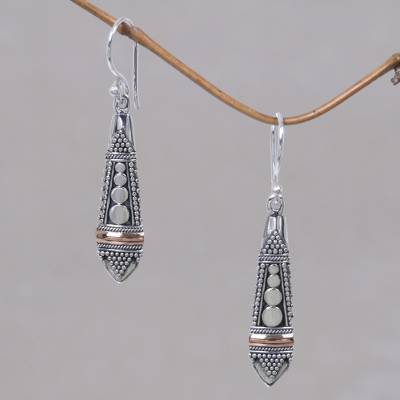 Gold accent dangle earrings, 'Balinese Sisters' - Handmade Sterling Silver and Gold Accent Dangle Earrings
