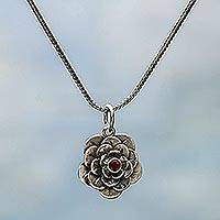 Garnet flower necklace, 'Holy Lotus'