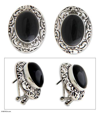 Onyx button earrings, 'Halo Flowers' - Sterling Silver and Onyx Button Earrings