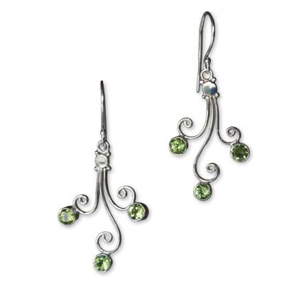 Sterling Silver and Peridot Dangle Earrings