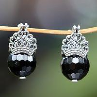 Onyx drop earrings, 'Bali Majesty' - Sterling Silver and Onyx Drop Earrings