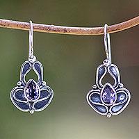 Amethyst drop earrings, 'Sweet Pea' - Handcrafted Sterling Silver and Amethyst Earrings