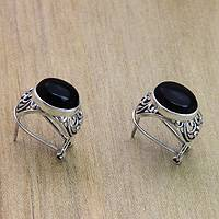 Onyx button earrings, 'Midnight Bower' - Handmade Sterling Silver and Onyx Earrings