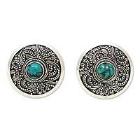 Sterling silver button earrings, Bali Noon