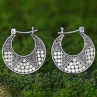 Sterling silver hoop earrings, 'Crescent' - Hand Crafted Sterling Silver Hoop Earrings