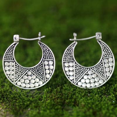 Sterling silver hoop earrings, 'Crescent' - Hand Crafted Sterling Silver Hoop Earrings