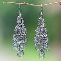 Sterling silver filigree earrings, 'Raindrops' - Fair Trade Women's Sterling Silver Filigree Earrings