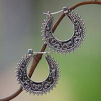 Sterling silver hoop earrings, 'Kuta Moon' - Artisan Crafted Sterling Silver Hoop Earrings
