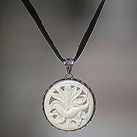 Leather and cow bone pendant necklace, 'Gecko's Bloom' - Leather and cow bone pendant necklace
