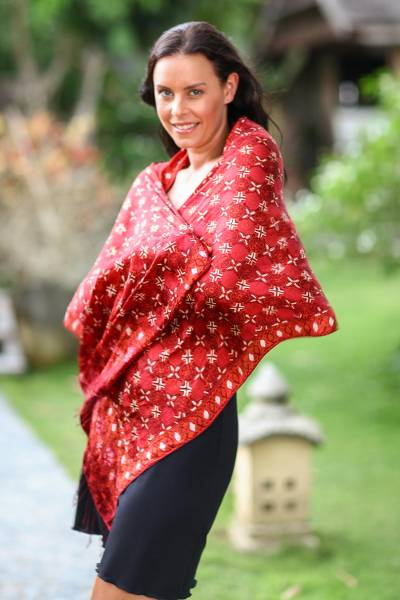 Silk batik shawl, Java Crimson Court