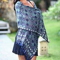 Silk batik shawl, 'Java Starlight' - Fair Trade Batik Silk Patterned Blue Shawl