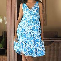 Cotton batik dress, 'Balinese Sea' - Hand Crafted Batik Cotton Dress