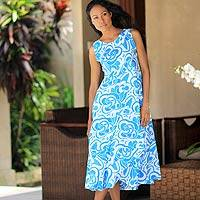 Cotton batik dress, 'Bali Blue' - Hand Crafted Balinese Batik Cotton Summer Dress