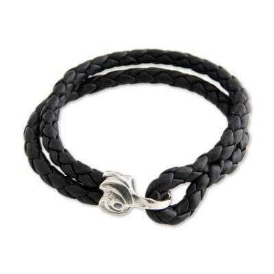 Black Braided Leather Bracelet with Sterling Silver Hook Clasp