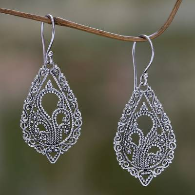 Sterling silver flower earrings, 'Fern Flowers' - Handcrafted Floral Sterling Silver Dangle Earrings