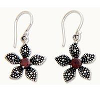 Garnet flower earrings,