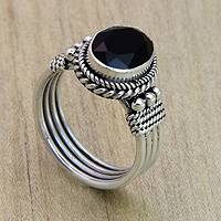 Onyx crown ring, 'Bali Glow' - Womens Onyx and Sterling Silver Handcrafted Ring