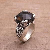 Smoky quartz cocktail ring, 'Glistening Borobudur' - Sterling Silver and Smoky Quartz Ring