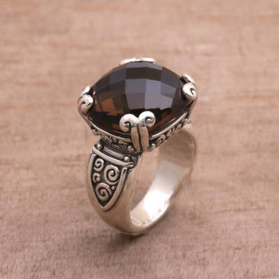 womens silver heart necklace zales - Sterling Silver and Smoky Quartz Ring