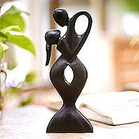 Wood sculpture, 'Soul Embrace' - Artisan Crafted Romantic Dancing Couple Sculpture