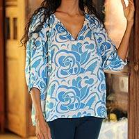 Cotton batik blouse, 'Island Blue' - Blue and White Cotton Batik Blouse from Bali