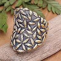 Gold plated cocktail ring, 'Dewa Sri' - Gold plated cocktail ring