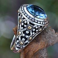 Gold accent topaz cocktail ring, Blue Bali
