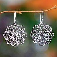 Sterling silver flower earrings, 'Gardenia Halo' - Floral Sterling Silver Dangle Earrings