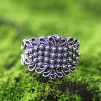 Sterling silver cocktail ring, 'Beaded Crown' - Sterling silver cocktail ring