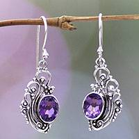 Amethyst dangle earrings, 'Balinese Breezes'