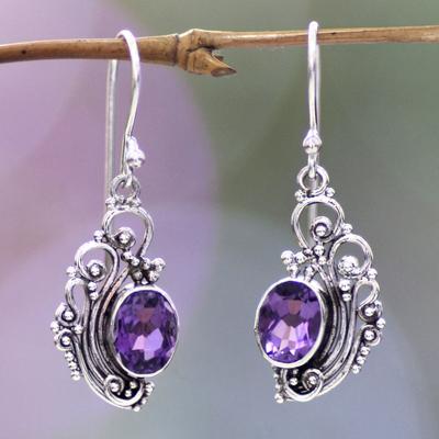 Amethyst dangle earrings, 'Balinese Breezes' - Women's Sterling Silver Dangle Amethyst Earrings
