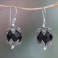 Onyx dangle earrings, 'Bali Moon' - Onyx dangle earrings