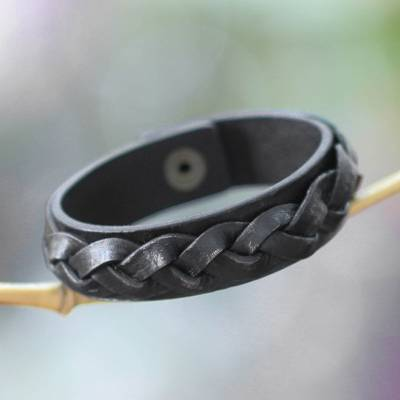Men's distressed leather bracelet, 'Java Journeys' - Men's Unique Leather Wristband Bracelet