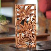 Wood relief panel, 'Sweet Frangipani Flowers' - Hand Carved Floral Relief Panel