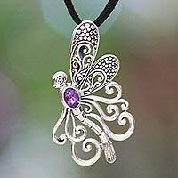 Amethyst pendant necklace, 'Island Butterfly' - Handmade Indonesian Silver and Amethyst Necklace