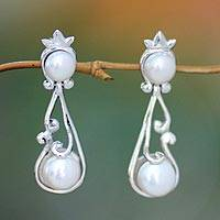 Pearl dangle earrings, 'Princess Bali' - Pearl dangle earrings