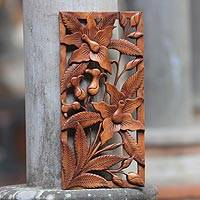 Wood relief panel Balinese Orchids Indonesia