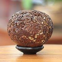Coconut shell sculpture, 'Frilled Lizard' - Indonesian Coconut Shell Sculpture