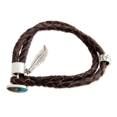 Turquoise and leather braided bracelet, 'Native Freedom' - Hand Crafted Leather and Turquoise Bracelet